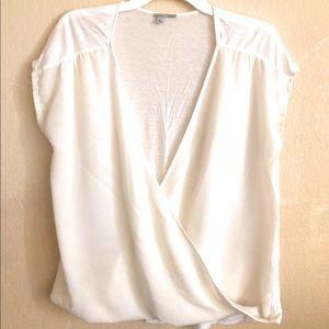 Halogen White Top Tunic Crossover neck Size Medium